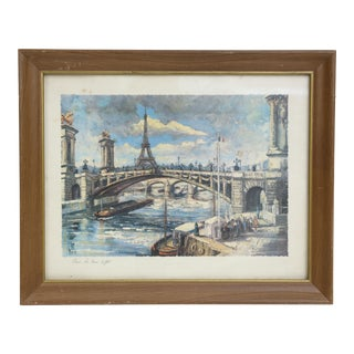 Late 20th Century Vintage Paris Scene Print, Framed For Sale