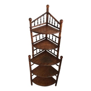 Antique Burnt Bamboo Corner Shelf For Sale