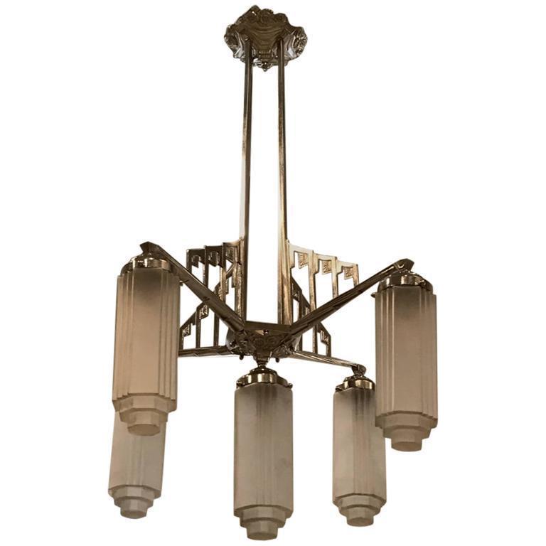 French Art Deco Chandelier With Skyscraper Motif
