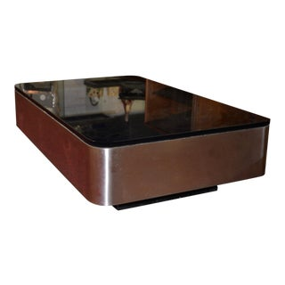 Stainless Steel and Smokey Glass Coffee Table C.1950s For Sale