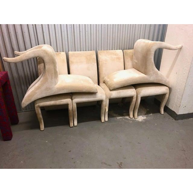 Dialogica 1990s Vintage Dialogica Cream Velvet High backEd Postmodern Splash Dining Chairs- Set of 6 For Sale - Image 4 of 5