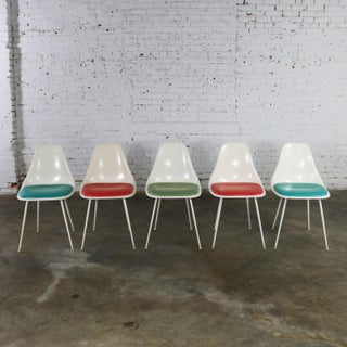 Burke Fiberglass #103 Shell Chairs With Padded Seats Set of 5 Mid Century Modern Preview