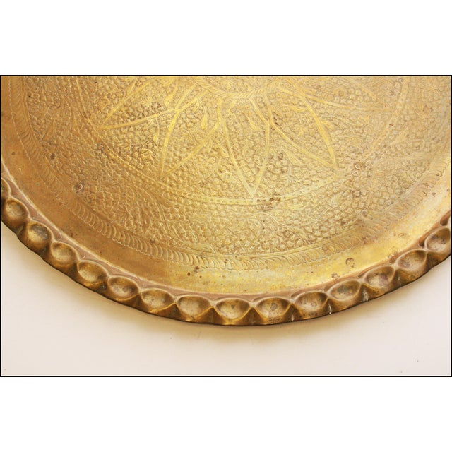 Vintage Moroccan Ornate Brass Charger Coffee Table - Image 10 of 11