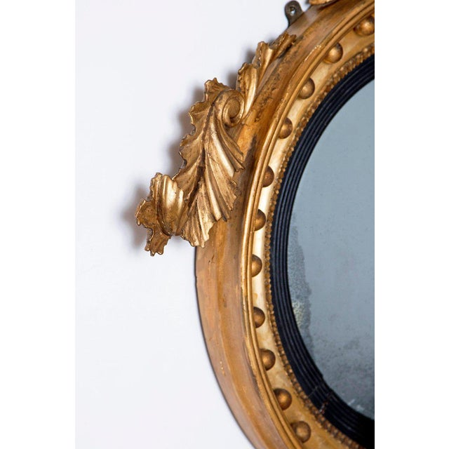 18th Century 18th Century George III Gilt-Wood Convex Girandole Mirror For Sale - Image 5 of 13