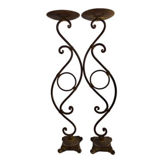 Rustic Southwestern Traditional Metal Bronze Finish Scrolling Tall Candle Holders - a Pair For Sale
