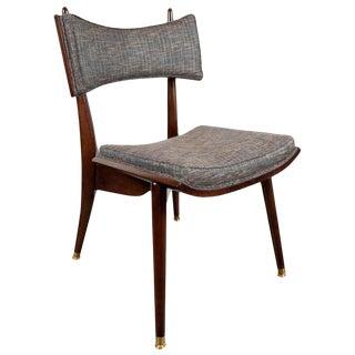 Mid-Century Modern Klismos Walnut & Brass Chair by Harold Schwartz for Romweber For Sale