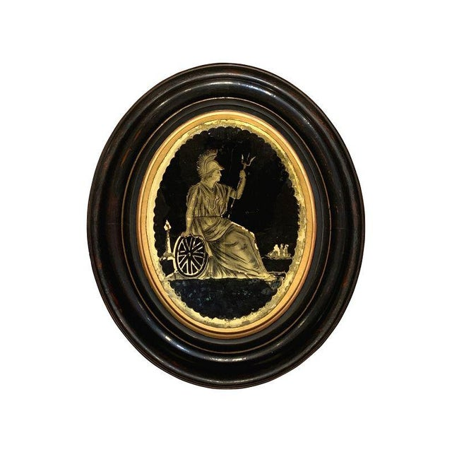 Pair of Framed Oval Eglomise Panels of Classical Figures Late 19th Century In ebonized oval walnut frames, verre eglomise...