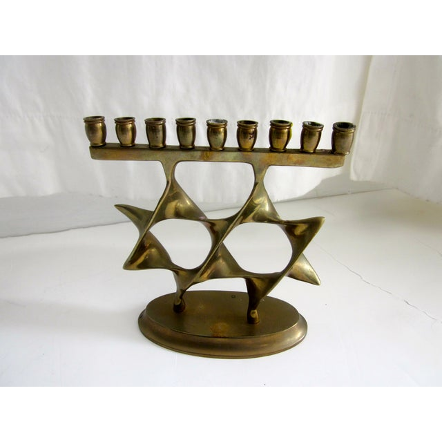 Modernist Abstract Brass Menorah Candle Holder - Image 2 of 6