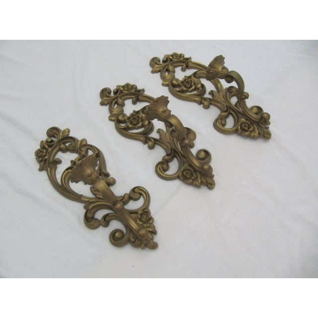 Homoco Gold Candle Sconces - Set of 3 - Image 3 of 6