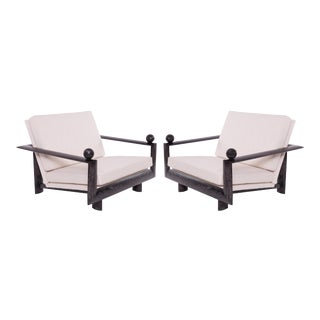 Cerused Oak Marble & Upholstered Lounge Chairs - a Pair For Sale