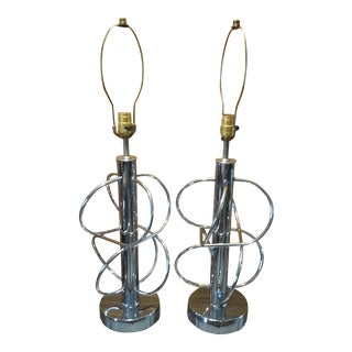 Mid-Century Chrome Atomic Lamps - a Pair For Sale