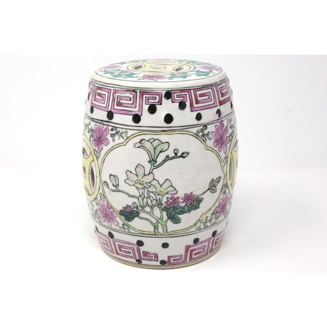 Ceramic Miniature Ceramic Garden Stool Figurine For Sale - Image 7 of 13