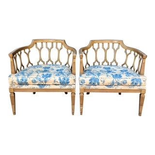 1960s Vintage Dorothy Draper Style Barrel Back Lounge Chairs- A Pair For Sale