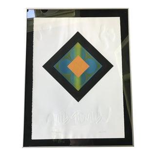 Mid-Century Modern Carlos Davila Geometric Embossed Serigraph Print, Framed For Sale