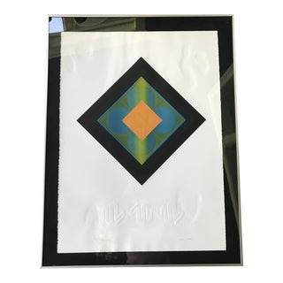 Mid-Century Modern Josef Albers Style Signed Geometric Embossed Serigraph Print, Framed For Sale