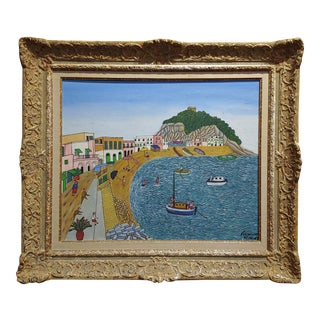 1960s Vintage S. Angelo Beach Ischia Oil Painting by Miguel Garcia Vivancos For Sale