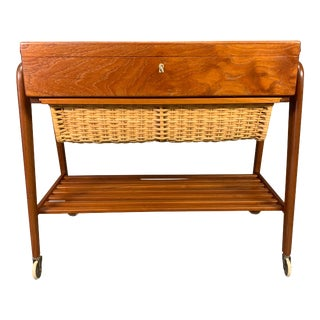 Danish Mid Century Modern Teak Trolley - Sewing Table by Poul Dinesen For Sale