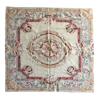 Aubusson Needlepoint Rug - 4′11″ × 5′2″ For Sale