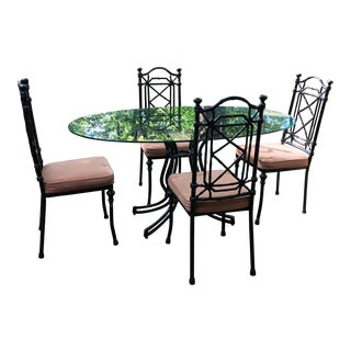1960s Mid-Century Modern Faux Bamboo Dining Set - 5 Pieces For Sale