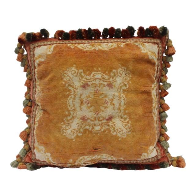 Metal Burnt Orange Silk Tassel Pillow For Sale - Image 7 of 7