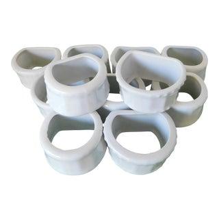 Vintage White Porcelain Napkin Rings - Set of 11 For Sale