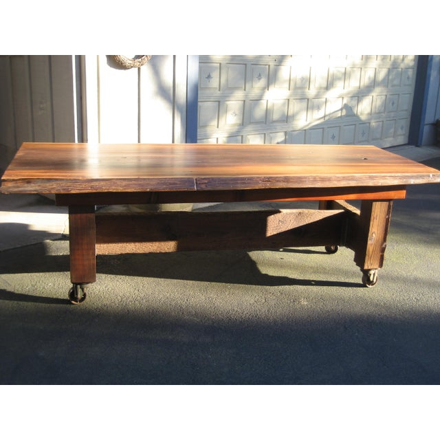 Cottage Hand Crafted Live Edge Red Cedar Slab Table For Sale - Image 3 of 10