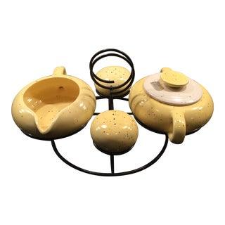 Mid-Century Yellow Ceramic Condiment Set