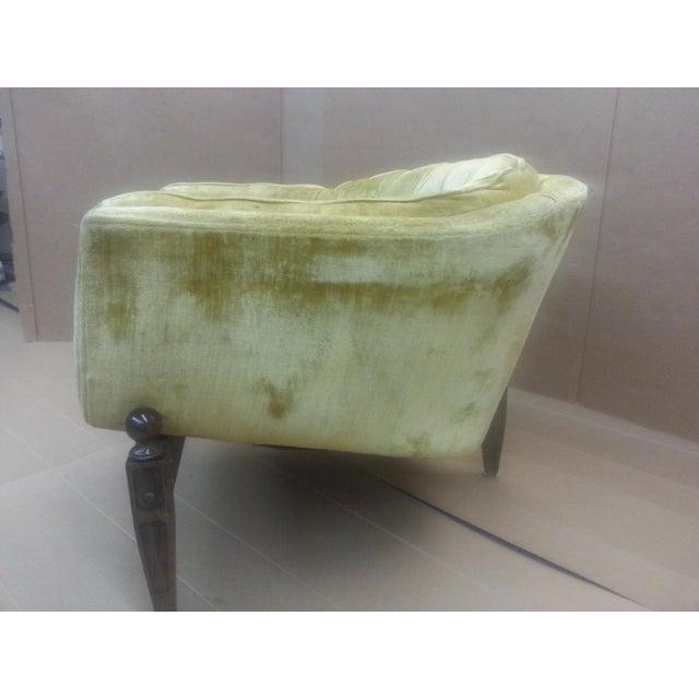 Gio Ponti Original Tufted & Tucked Gold Velvet Tripod Club Chair - Image 10 of 11