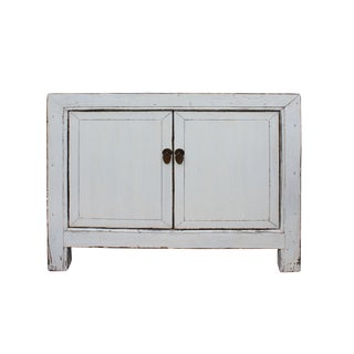 Oriental Simple Distressed Off White Credenza Sideboard Table Cabinet For Sale