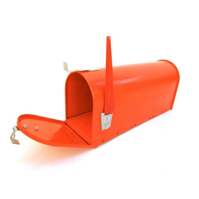 Vintage Industrial Fire Orange Metal Mailbox - Image 2 of 11