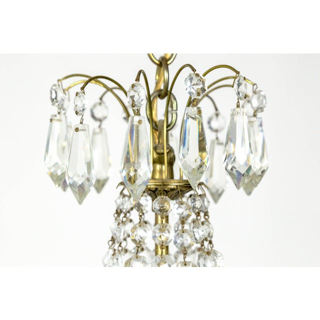 Mid 20th Century Petite Regency Style Crystal Tent and Bag Chandelier For Sale - Image 5 of 8
