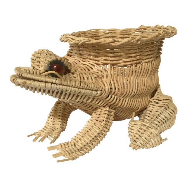 20th Century Cottage Marble Eyed Wicker Frog Planter/Catchall For Sale
