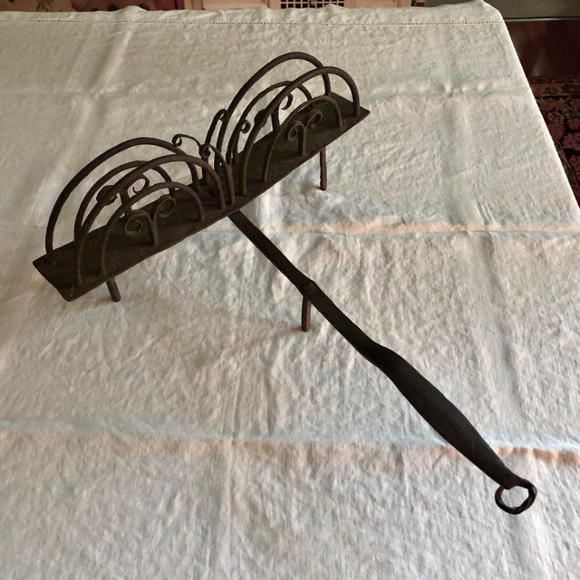 18th Century American Colonial Hand Forged Wrought Iron Rotary Bread Toaster For Sale - Image 13 of 13