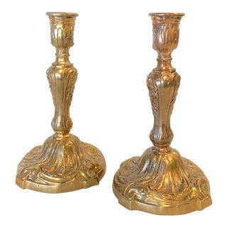 1920s French Brass Candle Sticks - a Pair For Sale