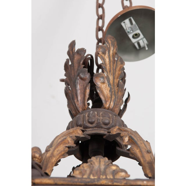 French 19th Century Iron and Gilt-Brass Single-Light Lantern For Sale - Image 12 of 13