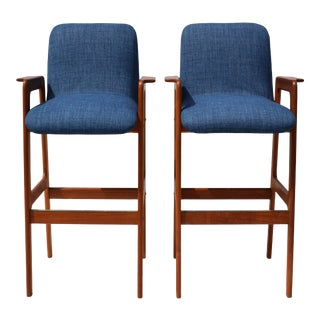 Danish Modern Teak Bar Stool Chairs - a Pair For Sale