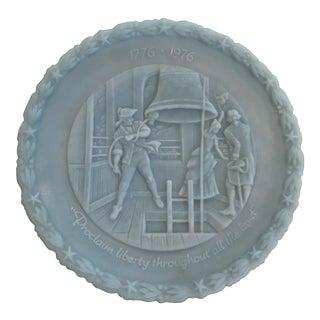 Fenton Powder Blue Bicentennial Plate - Life Liberty & Happiness
