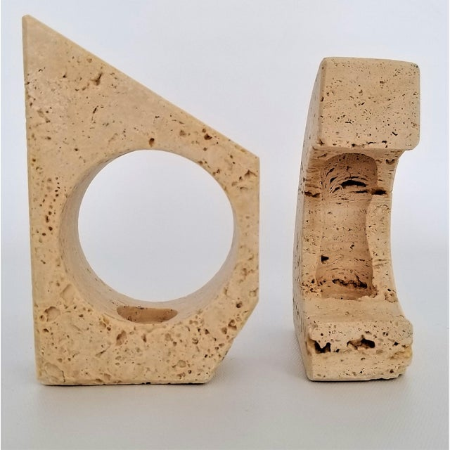 Rare Italian 1960s Travertine Candlesticks by Fratelli Mannelli- a Pair-Mid Century Modern MCM Minimalism Art Deco Italy Marble Raymor For Sale - Image 9 of 12