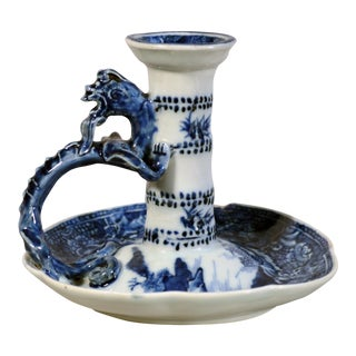Chinese Export Blue & White Porcelain Chamberstick, Circa 1780.