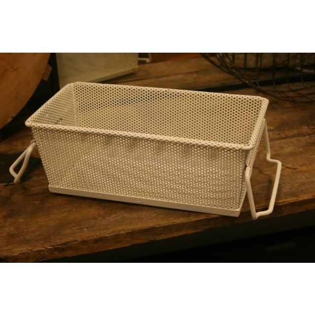Mid 20th Century Vintage French Industrial Metal Basket With Handles For Sale - Image 5 of 11