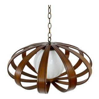 Mid Century Bentwood Pendant Chandelier by Feldman Co. For Sale