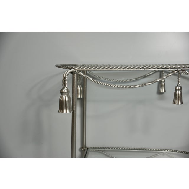 Mid 20th Century Hand Painted Metallic Rope & Tassel Bar Cart For Sale In West Palm - Image 6 of 10