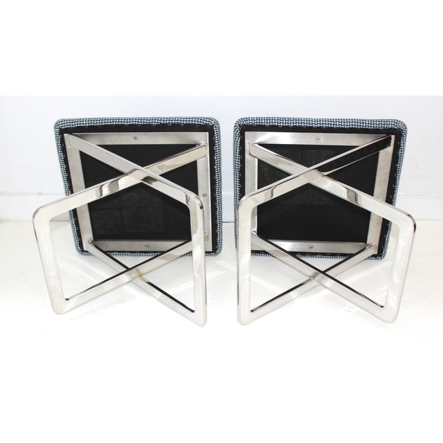 Silver Mid-Century Modern Milo Baughman Attributed X-Stools - a Pair For Sale - Image 8 of 11