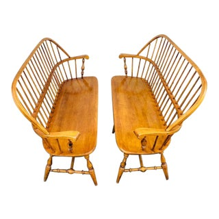 Vintage Ethan Allen Mid-Century Maple Windsor Benches- a Pair For Sale