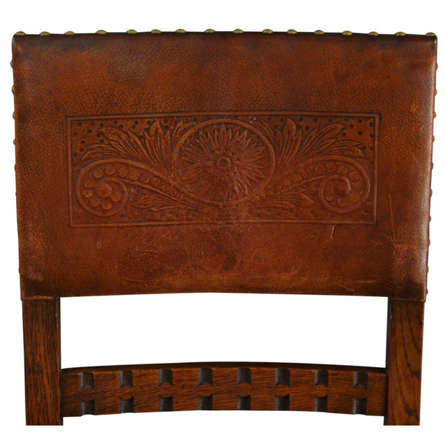 Vintage 1930 French Leather & Oak Dining Chair - Image 3 of 10