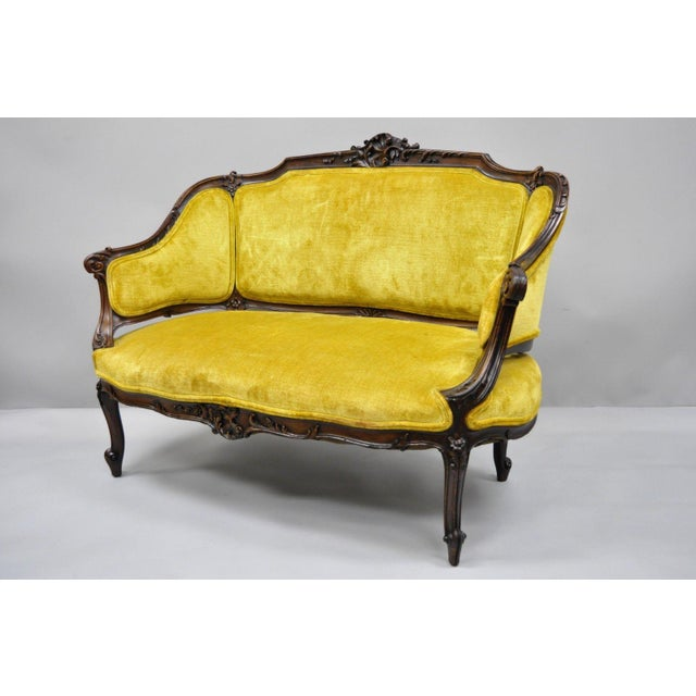 Antique French Louis XV Style Finely Carved Mahogany Settee Loveseat. Item features solid wood frame, beautiful wood...