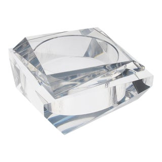Signed 1960s Modernist Italian Geometric Prismatic Clear Lucite Box For Sale