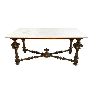 19th Century French Carved & Polychrome Table Base With Carrara Marble Top For Sale
