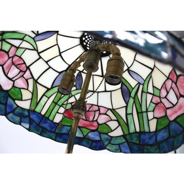 Tiffany Style Stained Glass Lamp For Sale - Image 4 of 6