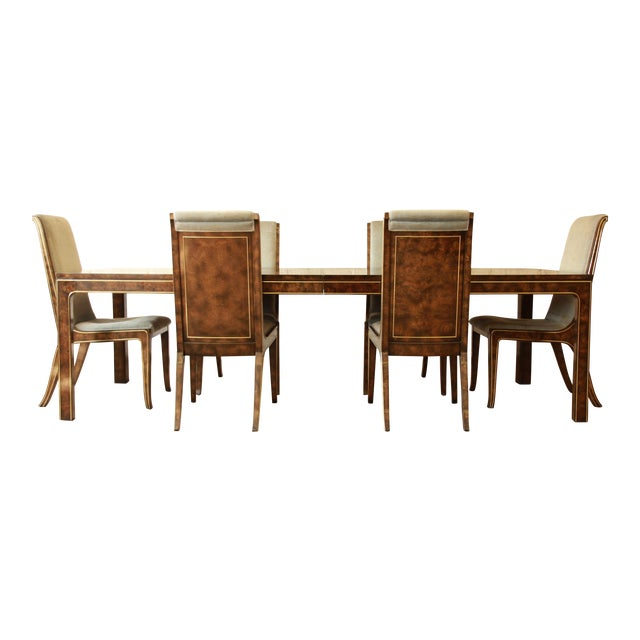 Exceptional Carpathian elm burl wood dining set with brass inlays designed by Bernhard Rohne for Mastercraft ca. 1970s....